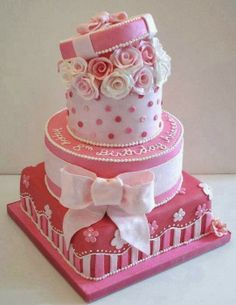 Pretty pink cake with stripes, roses, polka dots, and a bow. Gorgeous Cakes, Pretty Cakes, Amazing Cakes, Bolo Fack, Pink Birthday Cakes, Happy Birthday, 8th Birthday, Just Cakes, Occasion Cakes