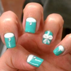 Tiffany Blue Nails with a bow!!