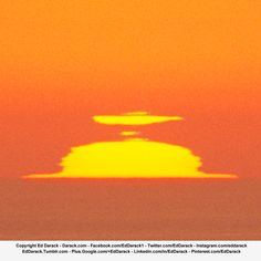 """Sun setting on Pacific Ocean horizon, as seen through multiple superior and inferior mirages, near San Simeon, California. Not exactly """"weather,"""" but a display of an atmospheric phenomenon. Pacific Coast, Atmospheric Refraction, Atmospheric Optics, Astronomy, Sunset. Copyright Ed Darack."""