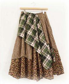 БОХО юбка из разнофактурных тканей