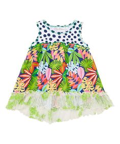 Navy & Coral Tropical Foliage Hi-Low Tunic - Toddler & Girls | zulily