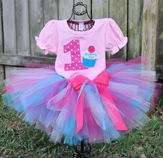 Tutti Cutesy Boutique. Handmade tutus, Ballerina tutu hair bow holders, hair bows, headbands, fairy wings, children clothings, and more - Cupcake Tutu Bithday Outfit