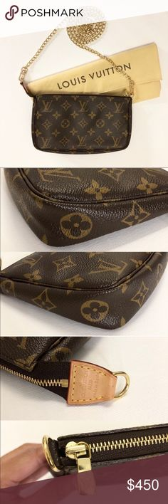 0fe5674a54f69 Authentic Louis Vuitton Pouch Amazing condition authentic Louis Vuitton  pouch with gold unbranded chain Purchased from another seller off Poshmark  Comes ...