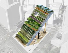 WORKac's  vertical farm combining growing area, farmers' housing, and a market below.