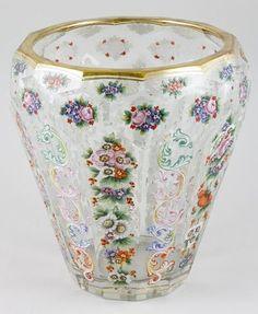 """Moser Glass Vase   19th century German Moser enameled glass vase, 8 1/4"""" x 7 1/2""""."""