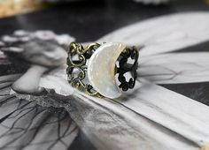 Crescent Moon Ring - Real Freshwater Pearl, Steampunk, Victorian, Celestial, Half  Moon Ring on Etsy, $17.99