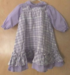 Vintage Baby Girl Dress 18-24M Purple Plaid Pinafore Long Sleeve Butterfly Doll #Handmade #DressyHoliday