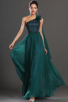 Inverted Triangle Hourglass Zipper Up Long Beading One Shoulder Chiffon Draped Evening Dress