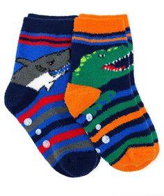 Slipper Socks Full Terry Cotton Socks 4 Pair of Childrens ABS Non Slip Socks.