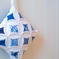 Beautiful blue & white miniature cathedral window (quilt) Christmas ornament. $18