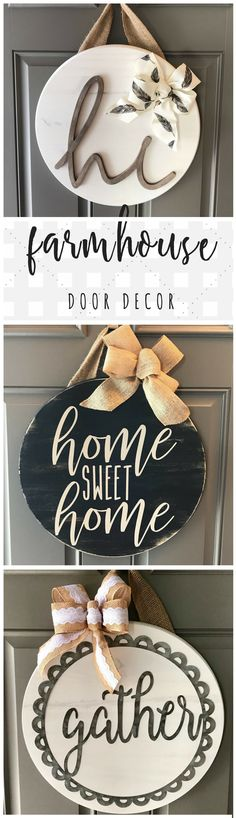 Farmhouse door decor on Etsy! Love these circle door hangers, so cute and welcoming! Perfect for the front #door or the #entryway !!! Could even be cute on a wall in the #kitchen :) #farmhouseentry #farmhousedecor #entrywayideas #kitchenideas #rusticdecor #doorhanger #diydecor