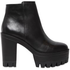 Windsor Smith Women 110mm Parcona Leather Ankle Boots ($170) ❤ liked on Polyvore featuring shoes, boots, ankle booties, black, black leather boots, platform booties, black leather bootie, black booties and black high heel boots
