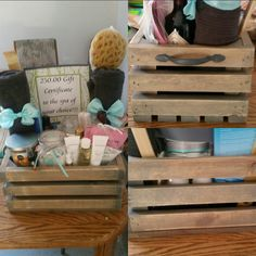 Handmade crate (sanded, stained, & added hardware) bath salts and bath bombs are stored in hand painted jars for a DIY spa day gift basket.