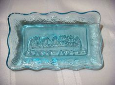 Indiana Glass Butter Dish | Vintage Tiara Indiana Glass Last Supper Blue Butter Dish