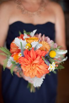 bridesmaid bouquet - honey and poppies