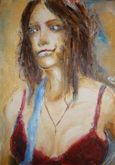 "Saatchi Art Artist MP XQS-I; Painting, ""Latino woman in red dress"" #art"