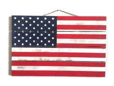 American Flag Decor Farmhouse Sign. American Rustic Flag.