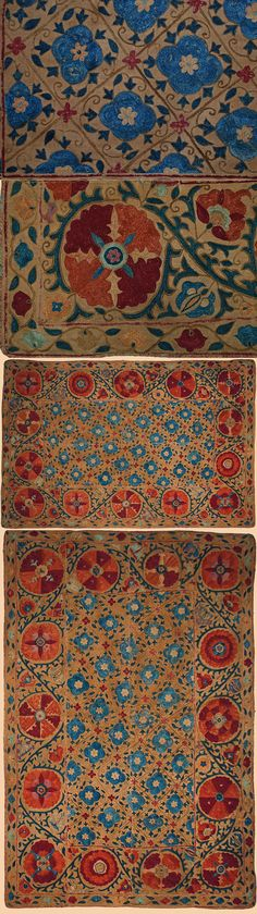 Antique Central Asian Suzani. Silk Embroidery on Cotton. Circa 1850. - Middle Eastern Textiles - TextileAsArt.com, Fine Antique Textiles and Antique Textile Information