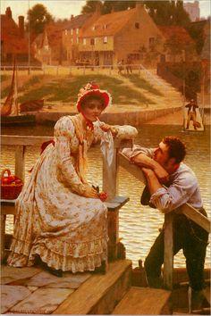 """Courtship"". (by Edmund Blair Leighton)."