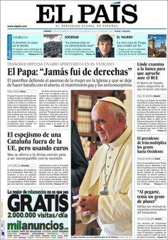 """La portada de El Pais del 20/9/13: """"Jamás fui de derechas"""" dice Francisco"""