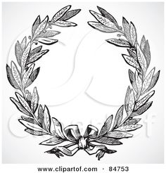 Royalty-Free (RF) Clipart Illustration of a Black And White Olive Leaf Wreath With A Ribbon by BestVector