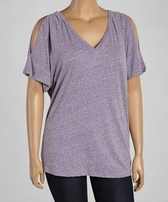 Loving this Purple Cutout V-Neck Tee - Women & Plus on #zulily! #zulilyfinds