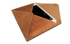 NEW Hand Stitched ipad mini Leather Envelope Case in CAMEL (Free Monogramming)
