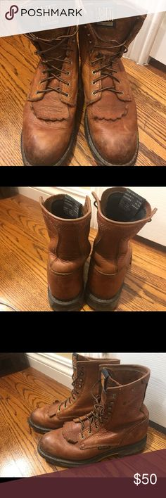 Ariat Steel Toe Work Boots Steel toe work boots by Ariat. Could use new laces but they still look sharp. Size 8 EE (double wide). Ariat Shoes Boots