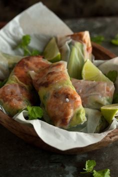 chipotle prawn and guacamole rice paper wraps