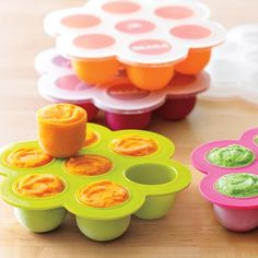 Silicon baby food freezer tray. So easy to pop out single 2 oz portions one at a time - and it's airtight