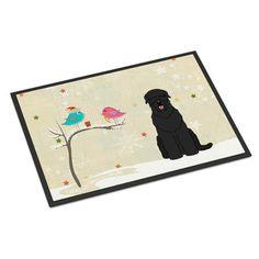 Caroline's Treasures Christmas Presents Between Friends Russian Terrier Doormat Rug Size: 2' x 3'