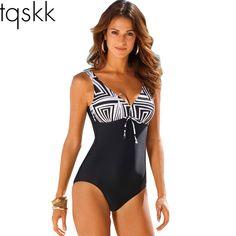 TQSKK 2017 Nieuwe Collectie Een Badpak Vrouwen Vintage Baden Suits Plus Size Badmode Strand Padded Print Polka Zwart Pak 4XL