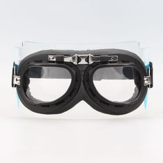 Aviator Pilot Chopper Cruiser Bikes Motorcycle Goggles Eyewear Black Frame Clear lens