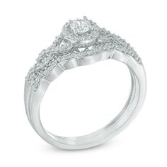 3/8 CT. T.W. Diamond Frame Loose Braid Bridal Set In 10K White Gold - Save on Select Styles - Zales