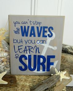 Waves & Surf Beach Quote Hand Painted Wood Sign via Etsy