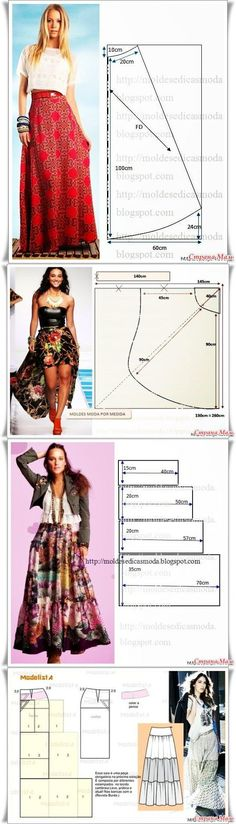 Long skirts - All sewing lessons . modeling, cutting technology - Home Moms Diy Clothing, Sewing Clothes, Clothing Patterns, Dress Patterns, Sewing Patterns, Sewing Coat, Sewing Stitches, Modest Clothing, Coat Patterns