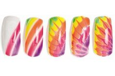 Tie die mani - do with SOGS, don't cure between colours or between dragging through, only at end.