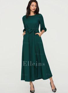 138bf1062b2b Solid 1 2 Sleeves A-line Maxi Vintage Elegant Dresses (199252586)