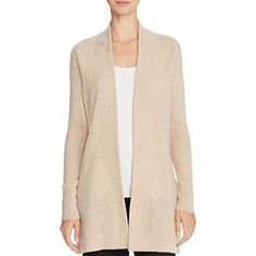 Womens Cashmere Ribbed Trim Cardigan Sweater
