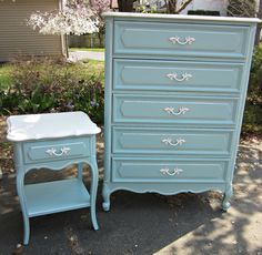 French Provincial Dresser and NIghtstand....Tiffany Box Blue