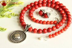 This #coral #beads with #silver #pendant is perfect to glam up your #ethnic look