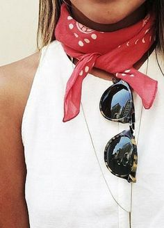 Red scarf and sunglasses.