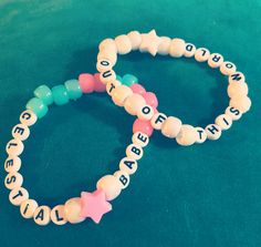 """Celestial Babe"" & ""Out Of This World"" glow in the dark, kawaii kandi singles"