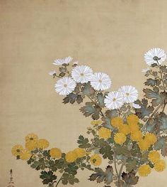 Japanese two panel folding screen. Japanese Painting, Chinese Painting, Love Painting, Silk Painting, Scream Art, Oriental Print, Traditional Paint, Art Japonais, Flower Ornaments
