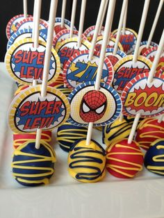 for Eli's bday party Avengers Birthday, Superhero Birthday Party, 6th Birthday Parties, Boy Birthday, Birthday Ideas, Birthday Cake, Superhero Cake Pops, Spiderman Theme, Bolo Lego