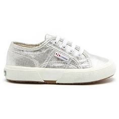 Superga 2750 Lamej Metallic Sneaker ($50) ❤ liked on Polyvore featuring shoes, sneakers, silver, metallic shoes, superga, lace up sneakers, superga sneakers and lacing sneakers