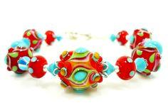 Lampwork Bracelet Glass Bead Bracelet Turquoise by BeadzandMore, $128.00