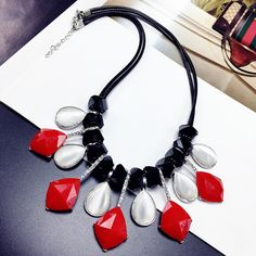Statement Black Red Opal Choker Necklace Women Fashion Jewelry Necklaces & Pendants Accessories Wholesale All Match
