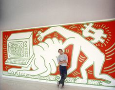 Keith Haring installing his mural at the Walker Art Center in Minneapolis on March 1984 Modern Art Artists, Keith Allen, Keith Haring, Graffiti Art, Art Techniques, American Artists, Wall Murals, Pop Art, Street Art