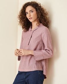 Product Image of Striped linen cotton top Mother Of Pearl Buttons, Striped Linen, Fashion Room, Hemline, Collars, Indigo, Curves, Poetry, Turtle Neck